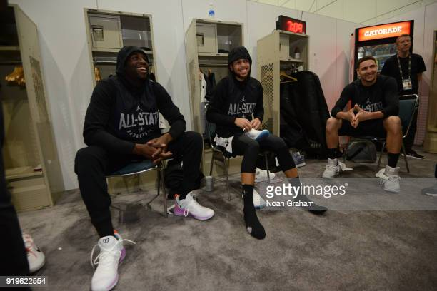 Draymond Green Stephen Curry and Klay Thompson of team Stephen prepare for the 2018 NBA All Star Practice as part of 2018 AllStar Weekend at Verizon...