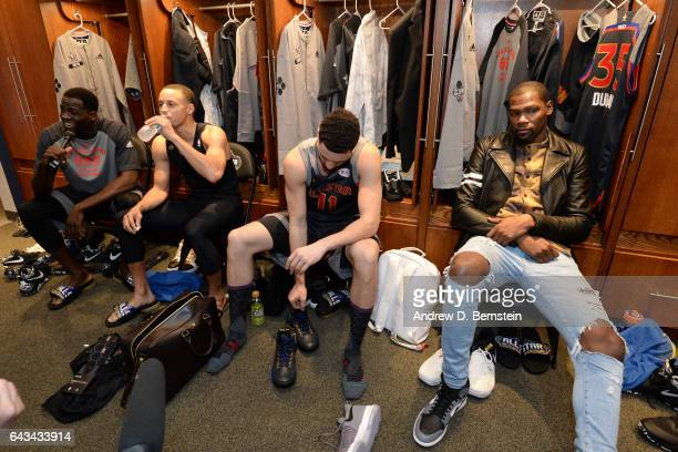Draymond Green Stephen Curry Klay Thompson and Kevin Durant in the locker room before the NBA AllStar Game as part of the 2017 NBA All Star Weekend...