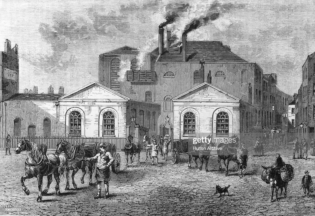 Drays leaving Meux's brewery, London, 1830.
