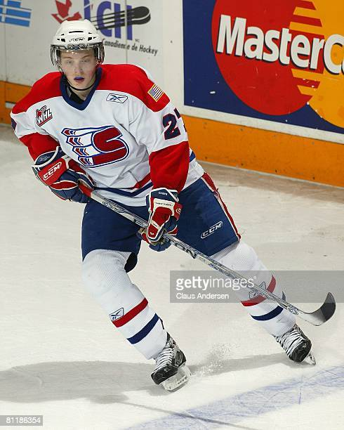 Drayson Bowman of the Spokane Chiefs skates against the Gatineau Olympiques in Game 5 of Memorial Cup round robin on May 20, 2008 at the Kitchener...