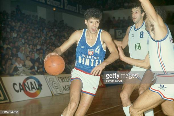 Drazen Petrovic from Yugoslavia during a game against France Petrovic nicknamed 'Mozart of basketball' died in a car accident on June 1993 four and a...
