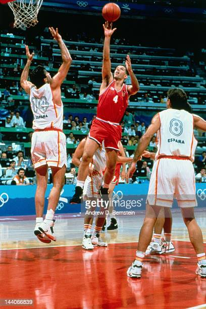 Drazen Petrovic of Croatia shoots against Spain during the 1992 Olympics on July 29 1992 at the Palau Municipal d'Esports de badalona in Barcelona...