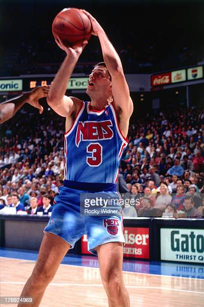 Drazen Petrovic of hte New Jersey Nets shoots the ball against the Sacramento Kings on January 28 1991 at Arco Arena in Sacramento California NOTE TO...