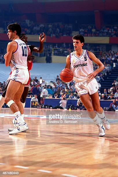 Drazen Petrovic of Real Madrid dribbles against Scavolini Pesaro during the 1988 McDonald's Open on October 21 1988 at Palacio de los deportes in...