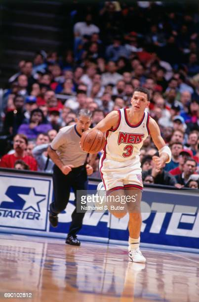 Drazen Petrovic of the New Jersey Nets brings the ball up court during the game circa 1993 at the Brendan Byrne Arena in East Rutherford New Jersey...