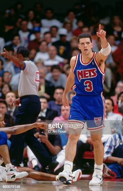 Drazen Petrovic of the New Jersey Nets celebrates a play against the Los Angeles Clippers at the Los Angeles Memorial Sports Arena in Los Angeles...
