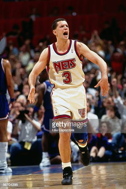 Drazen Petrovic of the New Jersey Nets celebrates against the Cleveland Cavaliers during Game three of Round one of the 1993 NBA Playoffs circa 1993...