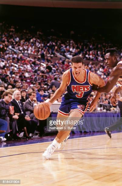 NEW YORK NY Drazen Petrovic of the New Jersey Nets dribbles against the New York Knicks during a game at Madison Square Garden in New York New York...