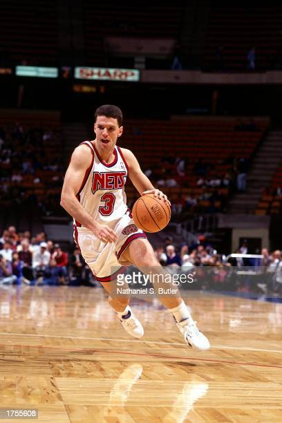 Drazen Petrovic of the New Jersey Nets drives to the basket at the Continental Airlines Arena during the 1991 NBA season in East Rutherford New...