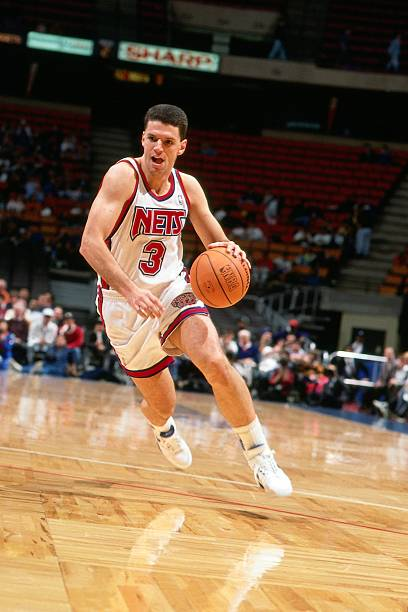 71c2711969a EAST RUTHERFORD, NJ - 1991: Drazen Petrovic #3 of the New Jersey Nets  drives to the basket during a 1991 NBA game at the Brendan Byrne Arena in  East ...