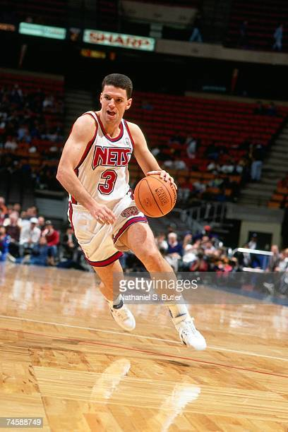 Drazen Petrovic of the New Jersey Nets drives to the basket during a 1991 NBA game at the Brendan Byrne Arena in East Rutherford New Jersey NOTE TO...
