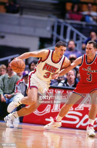 07e872ba5 Drazen Petrovic of the New Jersey Nets drives to the basket during the game against  the