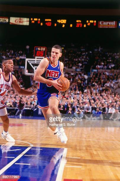 Drazen Petrovic of the New Jersey Nets drives to the basket during the game against the New York Knicks circa 1993 at Madison Square Garden in New...