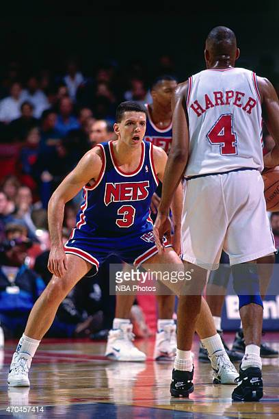 Drazen Petrovic of the New Jersey Nets guards his position against the Chicago Bulls circa 1993 at the Chicago Stadium in East Chicago Illinois NOTE...