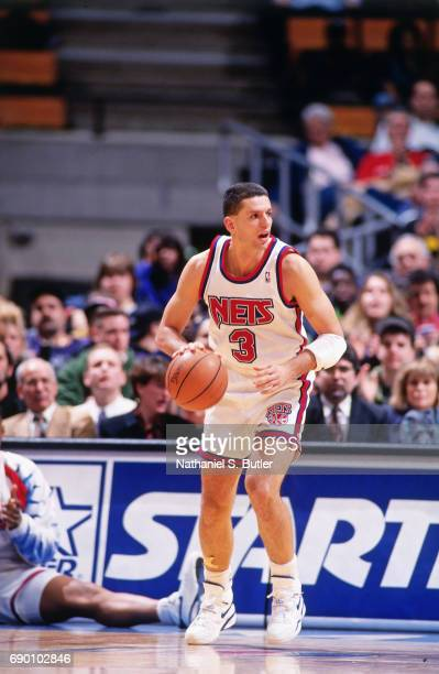 Drazen Petrovic of the New Jersey Nets handles the ball during the game circa 1993 at the Brendan Byrne Arena in East Rutherford New Jersey NOTE TO...