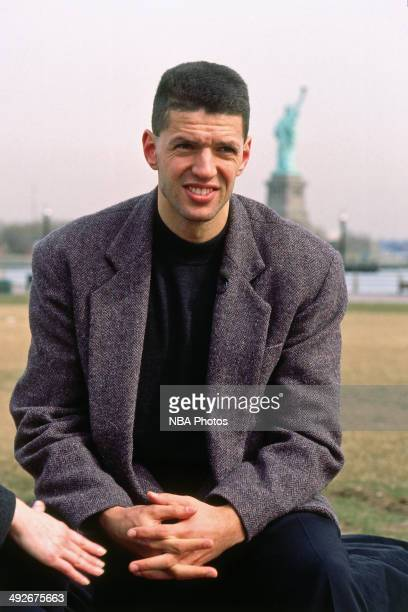 Drazen Petrovic of the New Jersey Nets is interviewed by Willow Bay circa 1991 in Hoboken New Jersey NOTE TO USER User expressly acknowledges and...