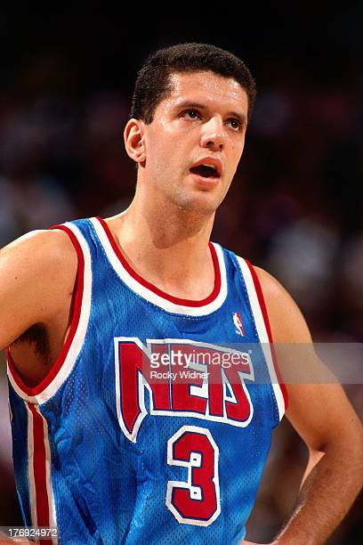 Drazen Petrovic of the New Jersey Nets looks on against the Sacramento Kings on January 28 1991 at Arco Arena in Sacramento California NOTE TO USER...