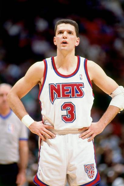 18ca0027533 EAST RUTHERFORD, NJ - 1992: Drazen Petrovic #3 of the New Jersey Nets looks  on during a game played in 1992 at the Brendan Byrne Arena in East  Rutherford, ...