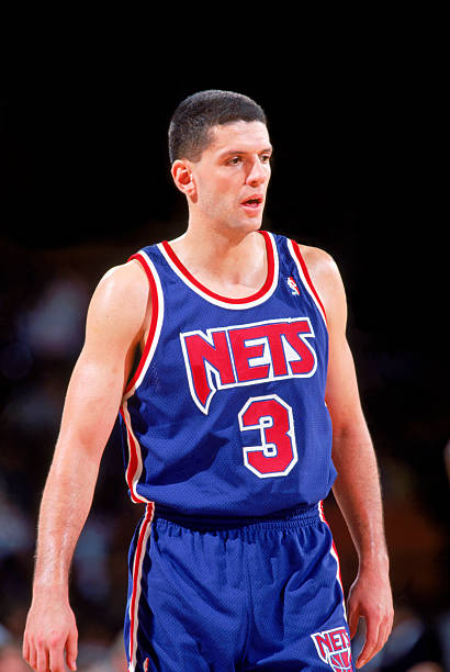 dcd89ec9cda DENVER - 1991-92: Drazen Petrovic #3 of the New Jersey Nets on the court  against the Denver Nuggets during a 1991-92 season game at McNichols Arena  in ...