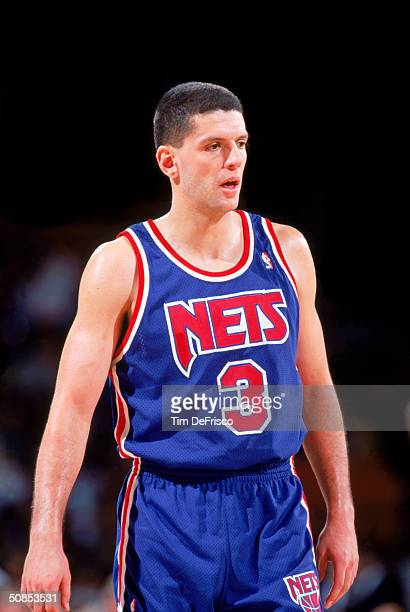 Drazen Petrovic of the New Jersey Nets on the court against the Denver Nuggets during a 199192 season game at McNichols Arena in Denver Colorado NOTE...