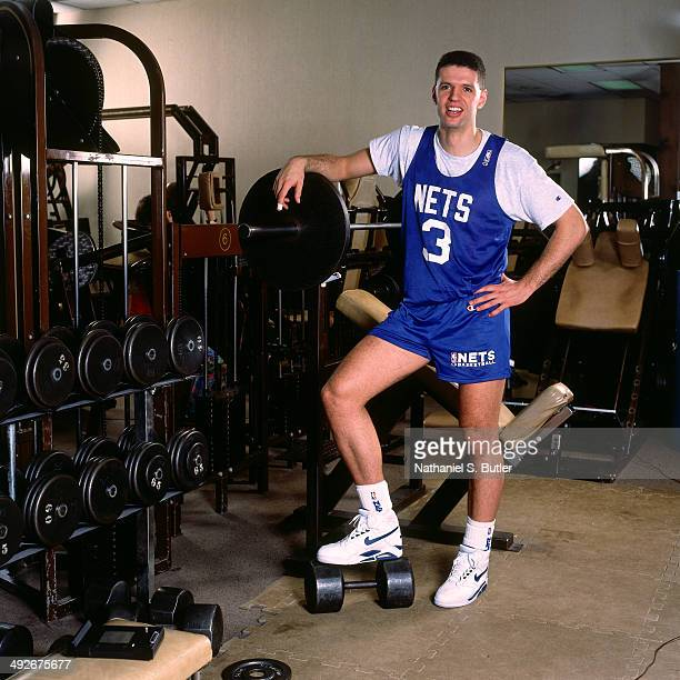 Drazen Petrovic of the New Jersey Nets poses for a photo at his home during an allaccess shoot circa 1991 in Hoboken New Jersey NOTE TO USER User...