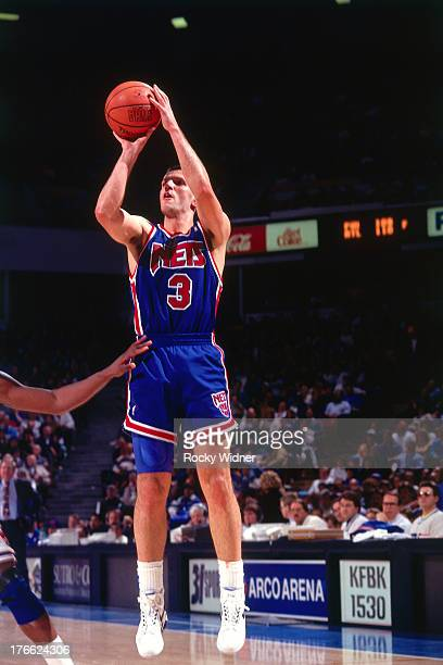 Drazen Petrovic of the New Jersey Nets shoots against the Sacramento Kings on January 28 1992 at Arco Arena in Sacramento California NOTE TO USER...