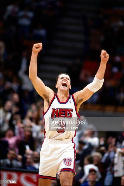 Drazen Petrovic of the New Jersey Nets shows his emotions at The Brendan Byrne Arena in East Rutherford New Jersey in 1993 NOTE TO USER User...