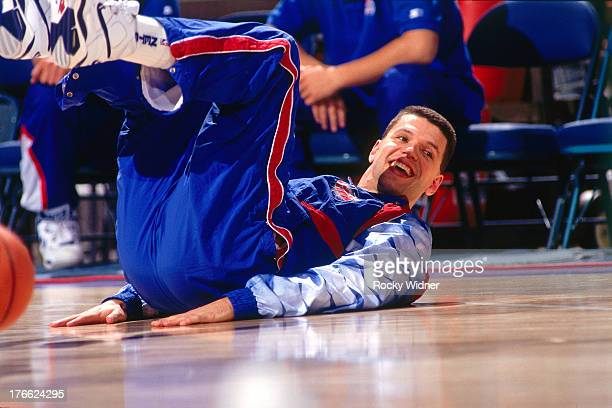 Drazen Petrovic of the New Jersey Nets stretches against the Sacramento Kings on January 28 1992 at Arco Arena in Sacramento California NOTE TO USER...