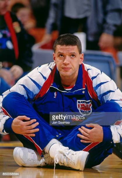 Drazen Petrovic of the New Jersey Nets stretches before the game against the Los Angeles Lakers at the Great Western Forum in Inglewood California...