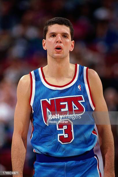 Drazen Petrovic of the New Jersey Nets walks against the Sacramento Kings on January 28 1991 at Arco Arena in Sacramento California NOTE TO USER User...