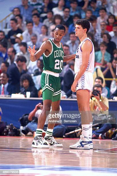 Drazen Petrovic of Yugoslavia stands against Brian Shaw of the Boston Celtics during the 1988 McDonald's Championships on October 21 1988 at the...
