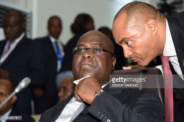 DRCongo President Felix Tshisekedi attends the opening ceremony of the African Union summit at the Palais des Congres in Niamey on July 7 2019...