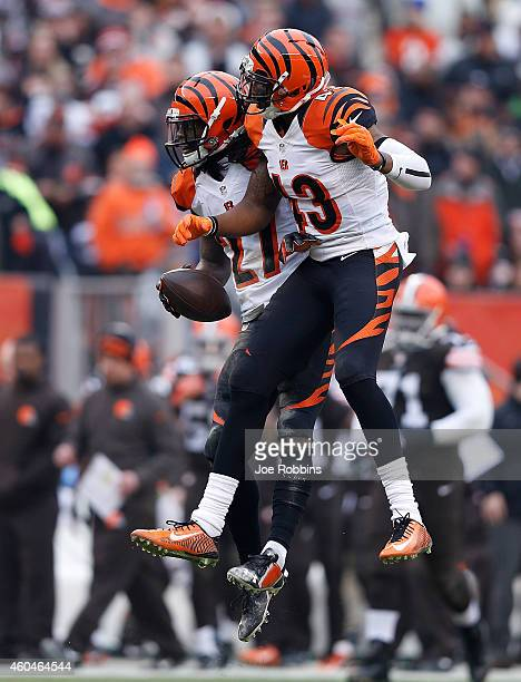 Dre Kirkpatrick celebrates his interception with George Iloka of the Cincinnati Bengals during the second quarter against the Cleveland Browns at...