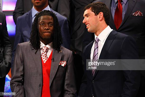 Dre Kirkpatrick from Alabama and Andrew Luck from Stanford talk on stage during the 2012 NFL Draft at Radio City Music Hall on April 26 2012 in New...
