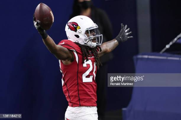 Dre Kirkpatrick of the Arizona Cardinals celebrates a fumble recovery against the Dallas Cowboys at AT&T Stadium on October 19 in Arlington, Texas.
