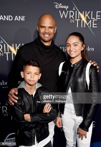 Dre Terrell Whitfield actor Dondre Whitfield and Parker Richardson Whitfield arrive at the world premiere of Disney's 'A Wrinkle in Time' at the El...