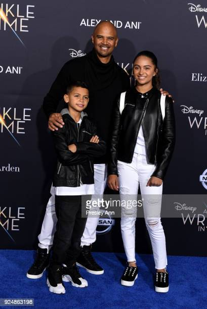 Dre Terrell Whitfield Dondre Whitfield and Parker Richardson Whitfield attend Premiere Of Disney's A Wrinkle In Time Arrivals on February 26 2018 in...