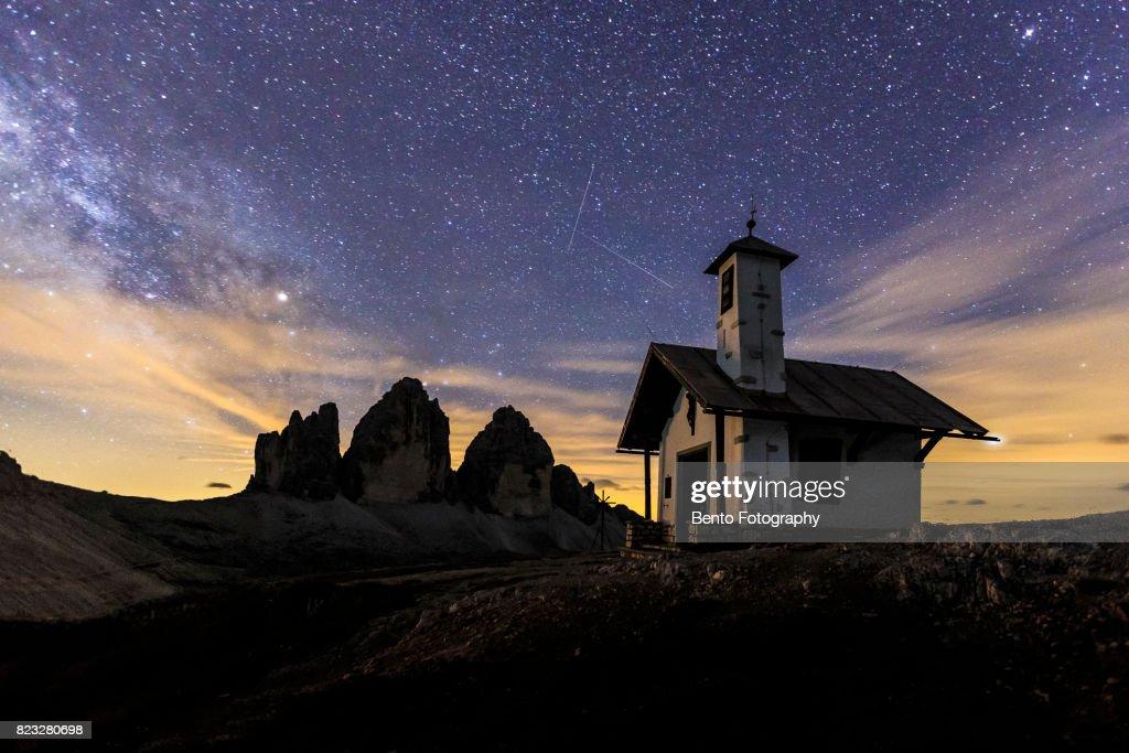 Dre zinnia church with stars dolomite, Italy : Stock Photo