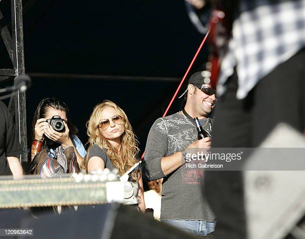 Drea De Matteo watches the Shooter Jennings performance from side stage at Rock'n The Rally