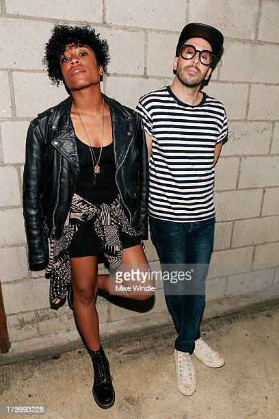 Drea Smith and Tim Nordwind of Pyyramids pose at The Bootleg Theater on July 18 2013 in Los Angeles California