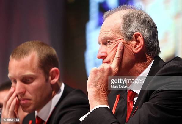 Dreagons coach Wayne Bennett watches on during the 2010 NRL Grand Final Breakfast at Sydney Convention & Exhibition Centre on September 30, 2010 in...