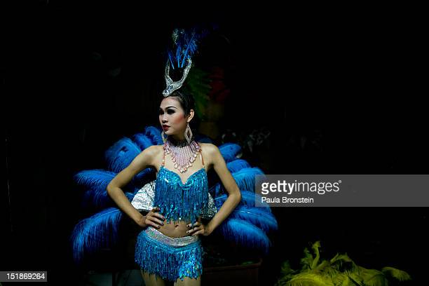 Dream a ladyboy dancer poses before she goes on stage at the Chiang Mai Cabaret show before a performance September 9 2012 in Chiang Mai Thailand The...