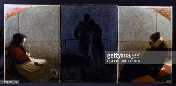 Dream and Reality triptych by Angelo Morbelli oil on canvas 112x77 112x79 112x77 cm Italy 20th century