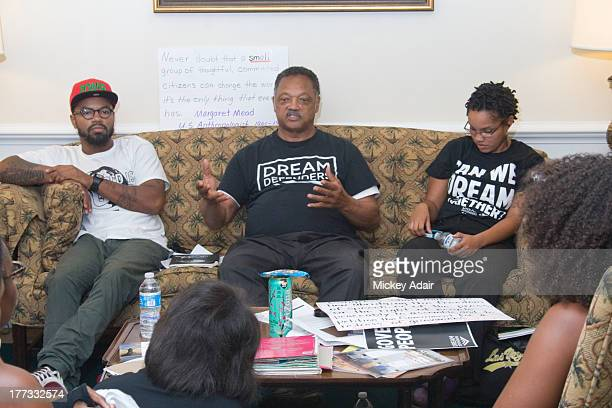 Dream Defenders Executive Director Phillip Agnew Rev Jesse Jackson and Florida AM University Dream Defenders President Melanie Andrade meet with...