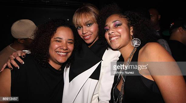 Dream Hampton Beyonce and Amanda Diva attend QTip's birthday party at Santos Party House on April 10 2009 in New York City