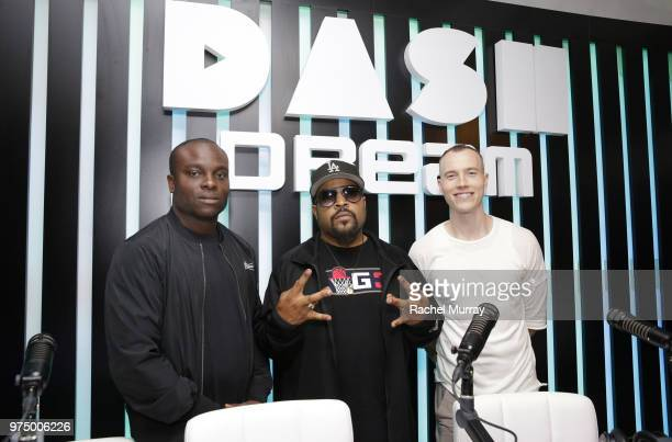 Dream Hotel's VP of Operations Ayo Akinsete, Ice Cube, and Dj Skee attend the Dream Hollywood x Dash radio launch Music Pop-Up on June 14, 2018 in...