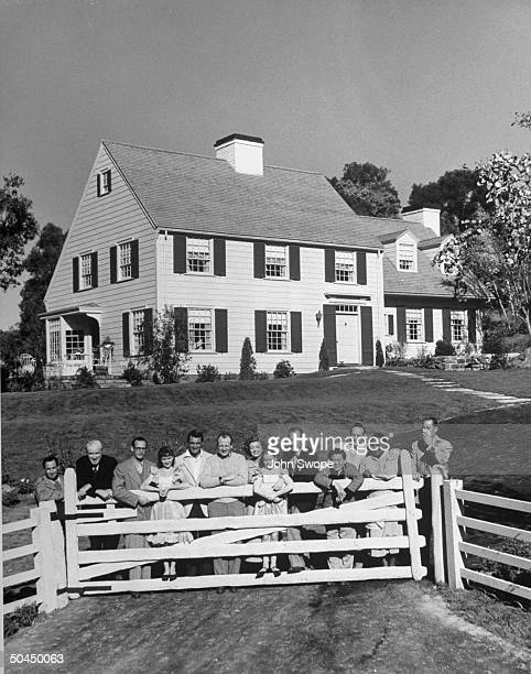 Dream house used for movie Mr Blandings Builds His Dream House with Cary Grant and Myrna Loy and other cast members posing in front