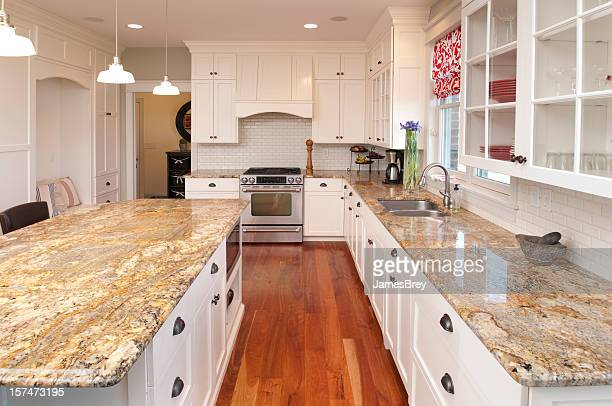 dream kitchen, marble countertops, custom lighting, hardwood floors, white cabinetry - customised stock pictures, royalty-free photos & images