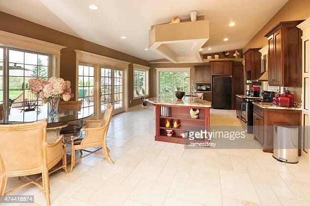 Dream Kitchen With Marble Center Island, Breakfast Nook