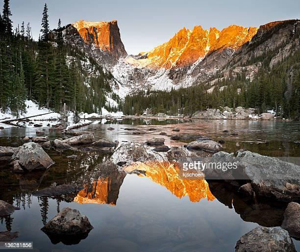 Dream Lake and Hallet Peak Alpenglow Reflection